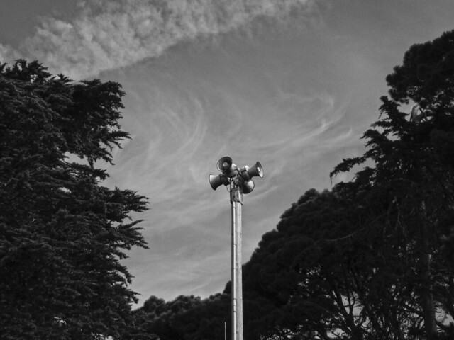 Emergency Warning System speakers on Lincoln Way; The Sunset, San Francisco (2014)
