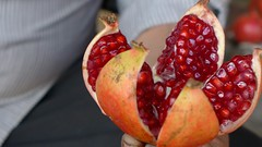 Luscious pomegranate in the streets of Hyderabad.