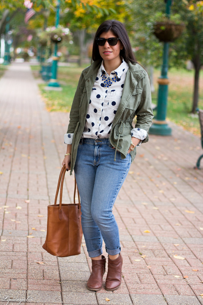 polka dot shirt, utility jacket, brown boots-3.jpg