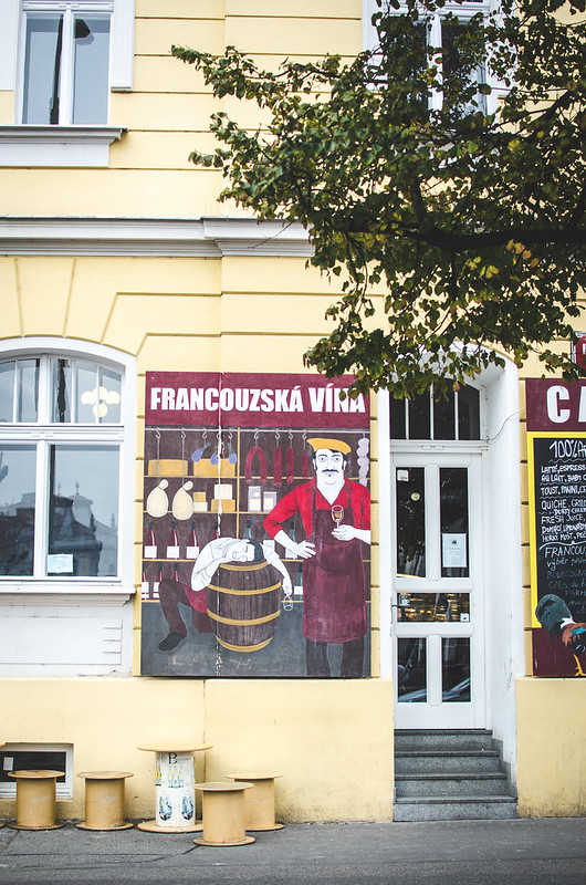 A wine bar near Jiřího z Poděbrad square and farmer's market in Prague.