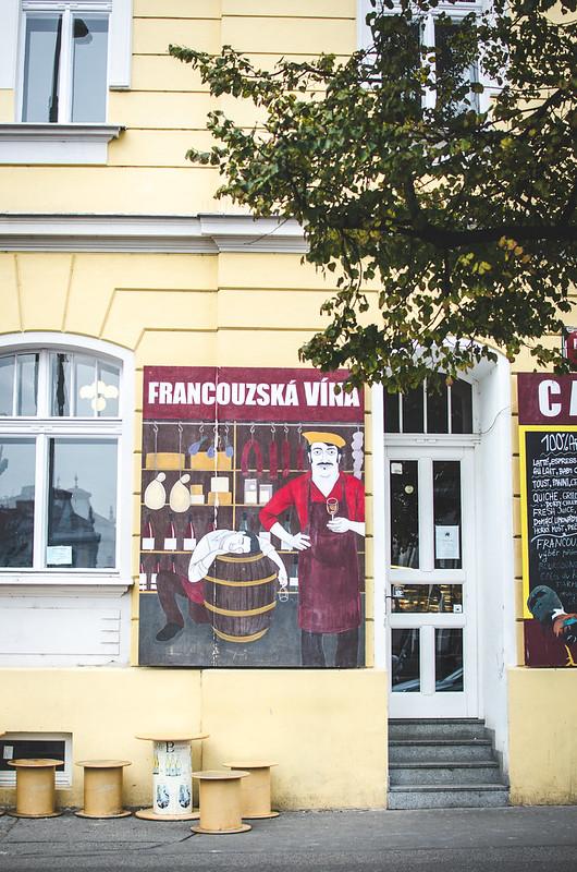 A wine bar near Jiřího z Poděbrad square and farmer's market in Prague.