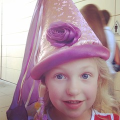#Tangled hat for the girl. This kid. Thankful she's saved some allowance for this trip.