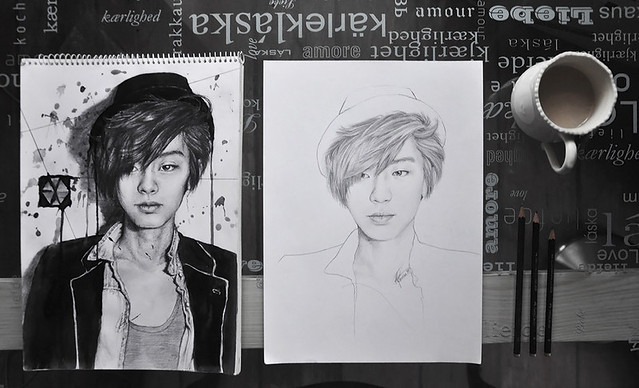 draw this again challenge: chanyeol 2012,2014