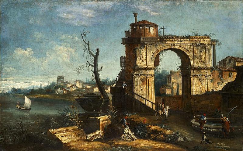 Michele Marieschi - Capriccio View with triumphal Arch and Fountain (c.1740)