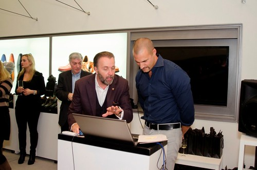 Nigel Barker and Gordon Clune designing shoes at Left Shoe Company NYC Pop-Up Opening