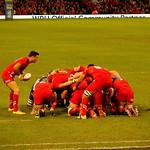 Welsh rugby team scrum