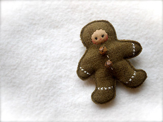 Brown Square Tick Gingerbread Girl: tan