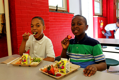 Students from District of Columbia Public Schools enjoy locally sourced fresh strawberries during the annual Strawberries and Salad Greens Day celebration this spring.