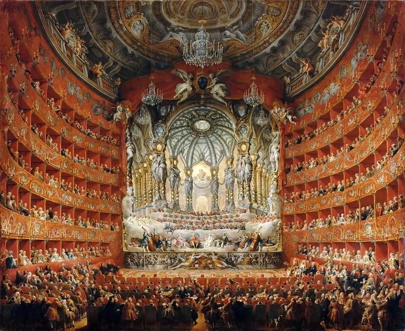 Giovanni Paolo Panini - Musical Celebration Given by Cardinal de la Rochefoucauld at the Theatre Argentina in Rome (1747)