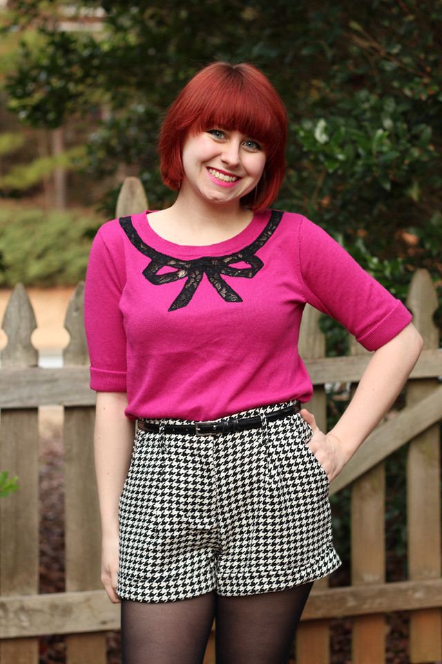 Pink Sweater with Houndstooth Shorts