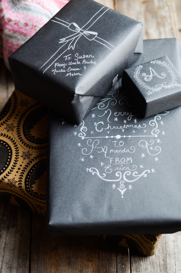 diy chalkboard and origami wrapping paper simple days