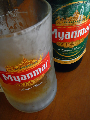 Myanmar Beer with Lunch in a BBQ Cafe in Mandalay in Myanmar