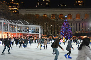 Picture Of People Skating At Citi Pond Ice Skating At Bryant Park In New York City. Citi Pond Ice Skating Started October 21, 2014 And Ends Sunday March 1, 2015. Photo Taken Thursday December 4, 2014
