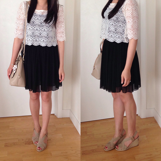 UO lace cropped top and Zara pleated skirt