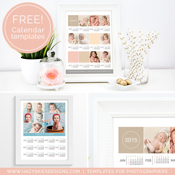 Free 2015 Photoshop Calendar Template for Photographers www.hazyskiesdesigns.com