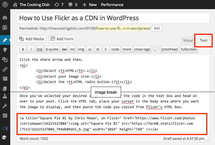 Paste Code to WordPress