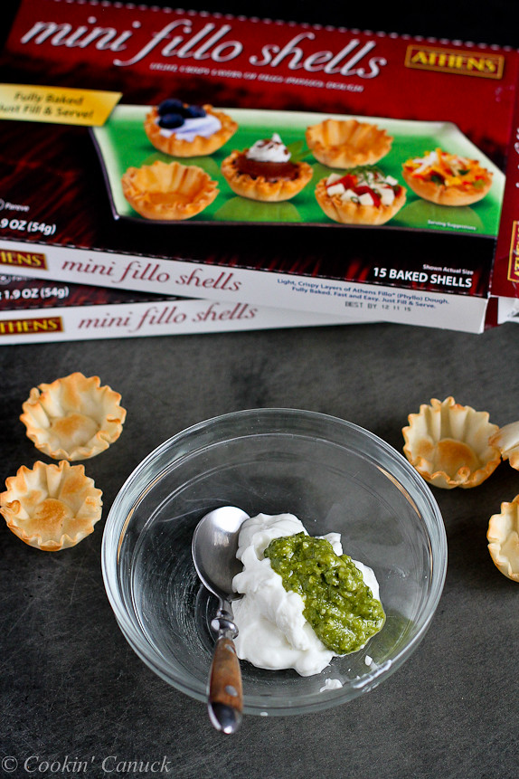 Mini Smoked Salmon and Pesto Yogurt Phyllo Bites...Fantastic for New Year's Eve or any cocktail party!  52 calories and 1 Weight Watchers point for 2 bites. | cookincanuck.com #healthy