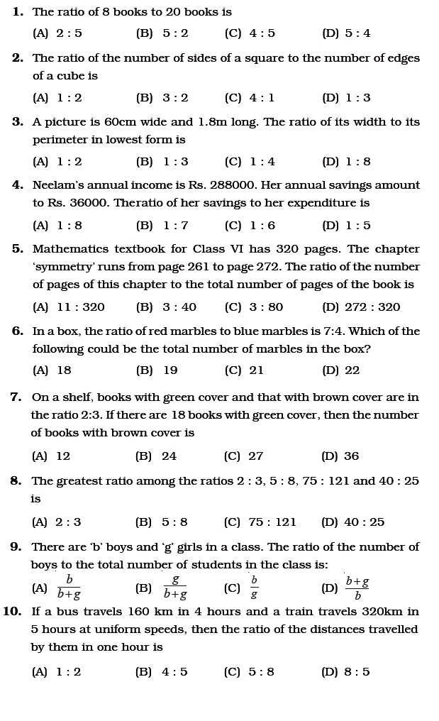 Class 6 Important Questions For Maths Ratio And Proportion