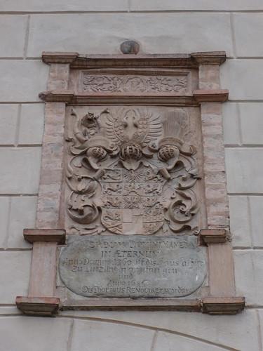 1843/53 Letzlingen Wappenkartusche Kurfürst Johann Georg von Brandenburg (1525-1598) am neogotischen Jagdschloß der Hohenzollern von Friedrich August Stüler/Ludwig Ferdinand Hesse Schloßstraße in 39638