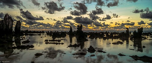 ocean sea reflection beach clouds sunrise dawn twilight rocks pacific nauru anabar anibare