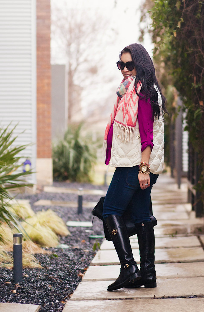 cute & little blog | petite fashion | maternity | sheinside geometric print tassel scarf, j. crew quilted excursion white puffer vest, radiant orchid shirt, henry belle jeans, tory burch eloise riding boots | fall outfit