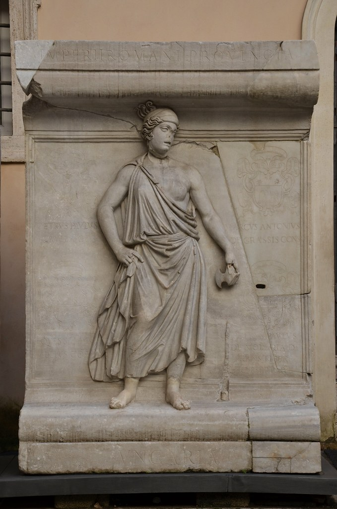 Representation of one of the Roman provinces, perhaps Moesia or Thrace, relief from the Hadrianeum, a temple of the deified Hadrian in the Campus Martius, dedicated by Antoninus Pius in 145 AD, Capitoline Museum