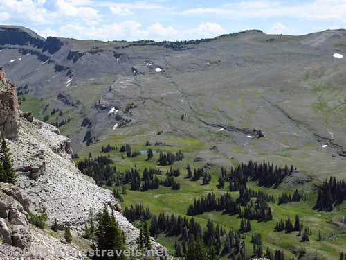 Looking down on the Teton Crest Trail from Fossil Mountain, Jedediah Smith Wilderness near Grand Teton National Park, Wyoming