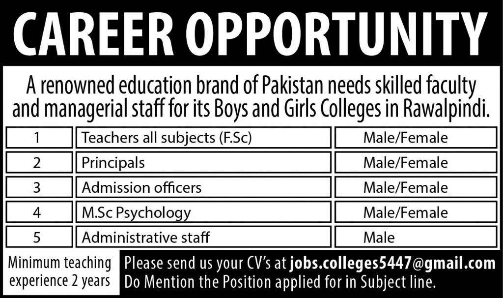 Faculty and Administrative Required for College Rawalpindi