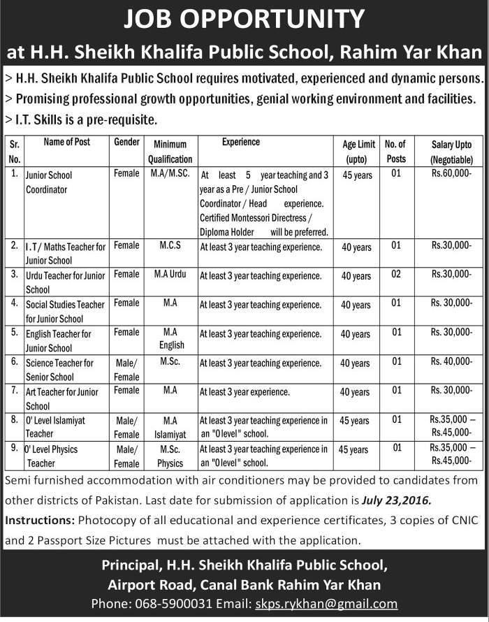 Sheikh Khalifa Public School Rahim Yar Khan Jobs
