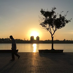 Sunrise from the Mekong River in Phnom Penh, Cambodia. #gadventures #wanderlust #riverside #shadow #nofilter #backtobed