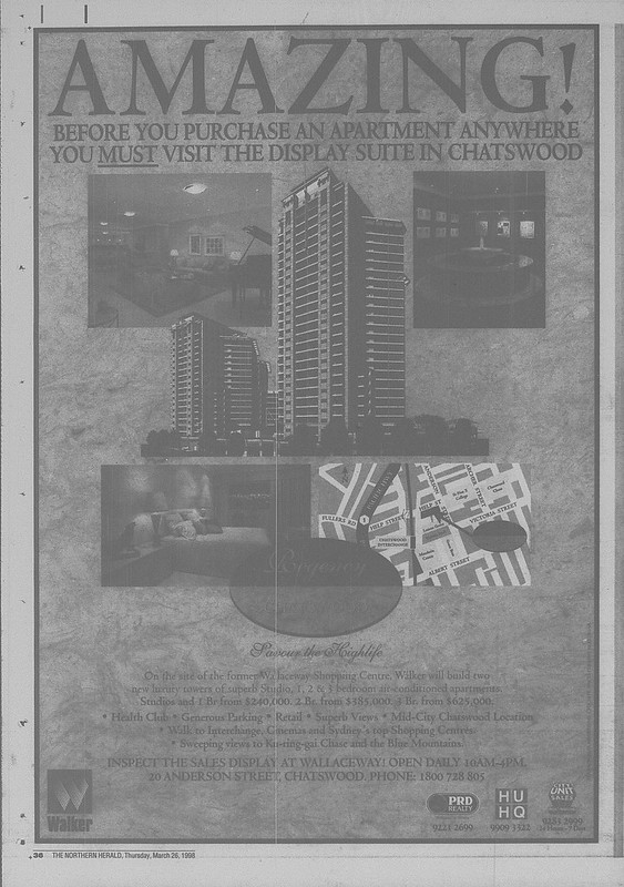 Regency Chatswood Ad March 26 1998 the northern herald