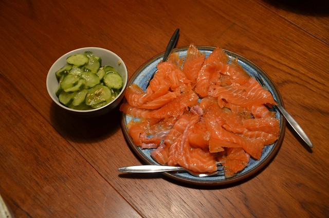 Ouzo cured salmon, pickled cucumber