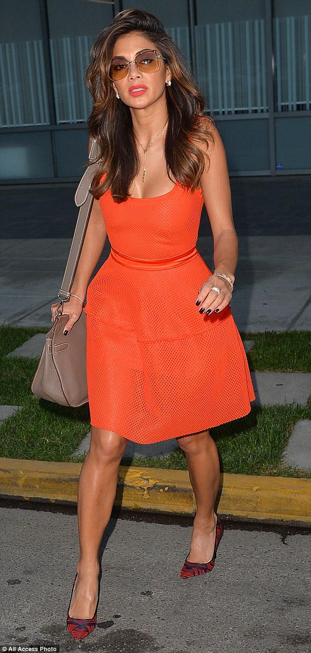 orange-skater-dress,bejeweled neckline jumpsuit, Orange plunging neckline jumpsuit, Orange pencil dress, pencil dress