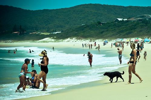 street blue summer people woman dog sun man colour beach wet water girl yellow swim umbrella photography lomo sand surf waves fuji dry australia towel heat xt1 boomerangbeach lightroompreset xf60mm fujixt1