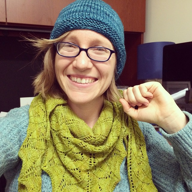 Happy with my new hat! (Same top-down recipe as M's hats. Really am gonna write this up soon, along with the mittens!)