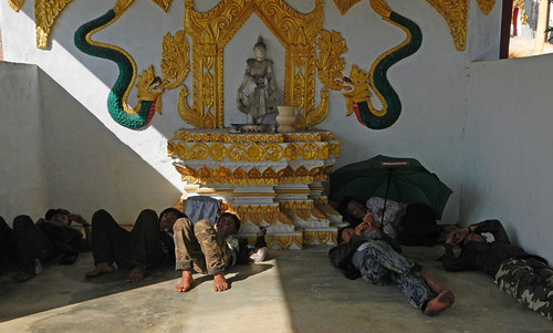 Boys Resting in the Shade in the Temple up on the Hill Above Inle Lake