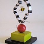 Sean O'Meallie; Bread Frame with a Bee Passing Through - Polychrome wood, steel, polyester; Collection of Susan Edmondson, Colorado Springs, CO