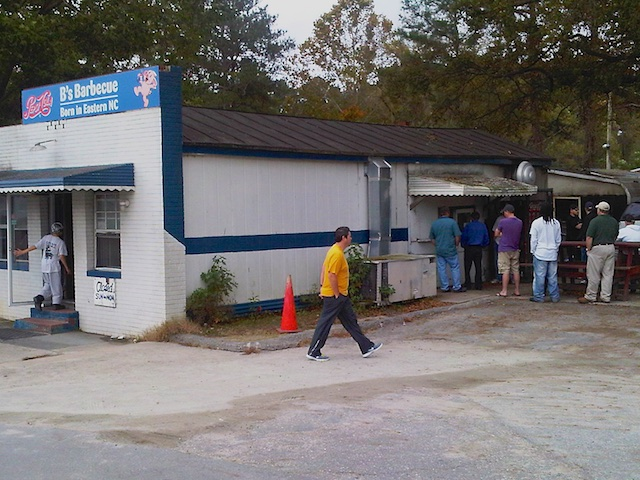 B's Barbecue takeout line, Greenville, NC October 2012