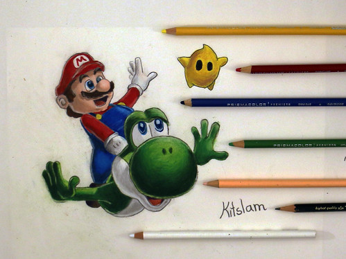 Left Hand Drawing with Mario and Yoshi