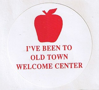 Old Town Welcome Center lapel sticker