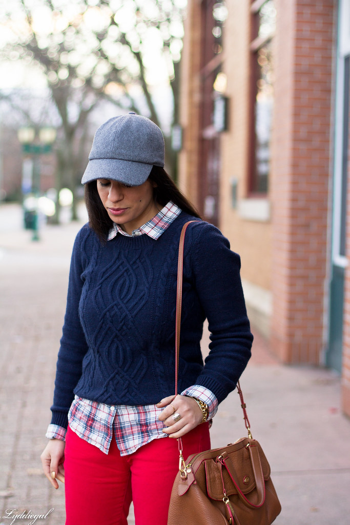 navy sweater, plaid shirt, red denim, ball cap-3.jpg