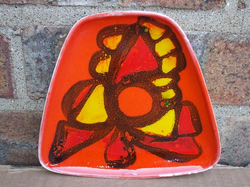 1970's Poole Delphis Small Dish Orange Mid Century Modern Pottery