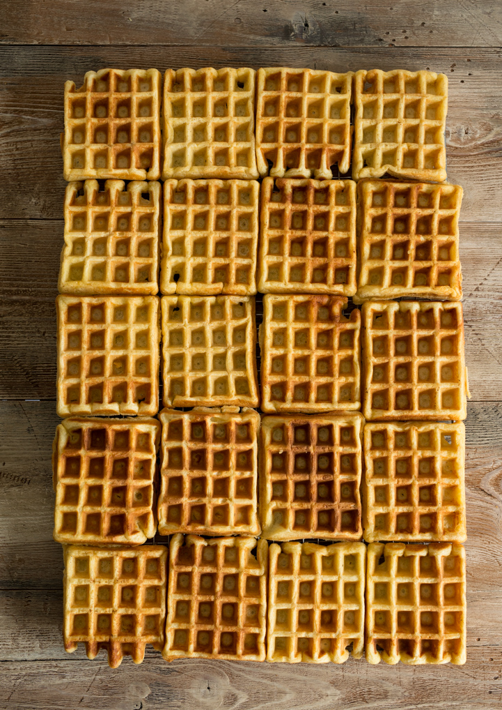Big ol' Batch of Buttermilk Belgian Waffles www.pineappleandcoconut.com