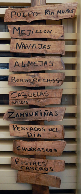 The Menu Board at a Pulperia on Spain's Galician coast