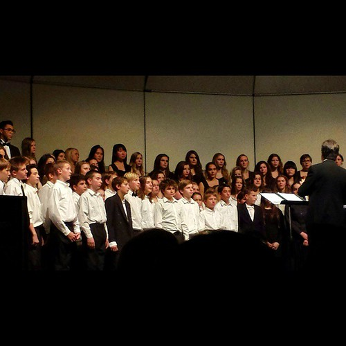 7th- and 8th-grade choir at the Winter Concert at #sacramentowaldorfschool  This time I could see my son! #waldorf #music #seventhgrade