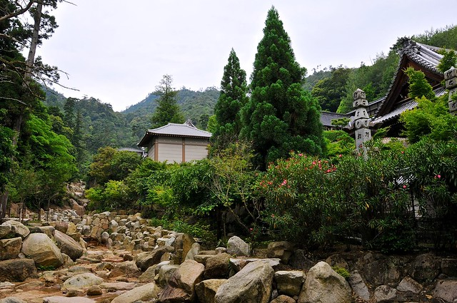Daishoin temple from the rocky riverbed