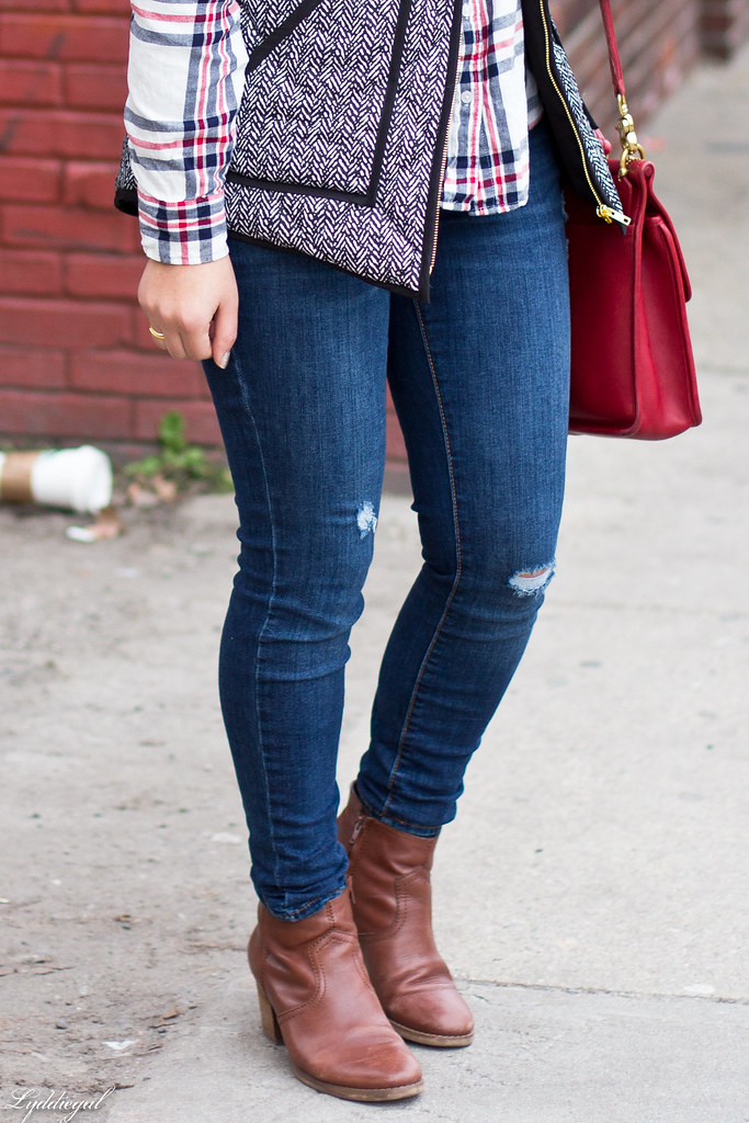 plaid shirt, herringbone vest, red coach bag-1.jpg