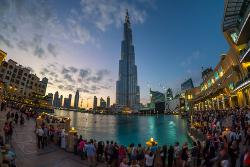 city blue light sunset urban lake fountain skyline night dubai sony uae fisheye khalifa hour 8mm unitedarabemirates burj vae vereinigtearabischeemirate a5000 burjkhalifa