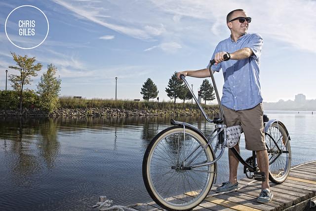 Chris Giles and his bike on dock