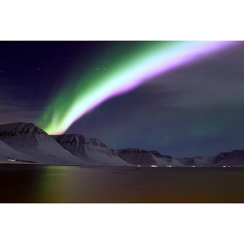 On our way home we saw some northern lights so we grabbed our camera and took this photo. It was amazing!!